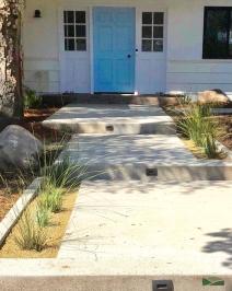 front yard transformation | custom steps | landscape lighting