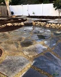 back yard transformation | flagstone hardscape | lawn removal