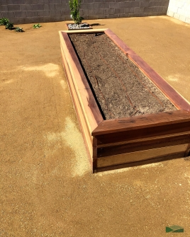 custom garden boxes | back yard transformation | lawn removal | decomposed granite