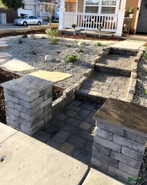 front yard transformation | grass removal | custom pavers | flagstone